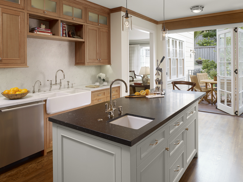 2 White Marble Kitchen1 New Remodel: Marrying Traditional & Modern Style in Small Home