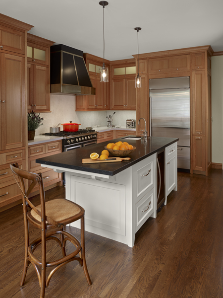 3 Anigre Wood Kitchen Cabinets1 New Remodel: Marrying Traditional & Modern Style in Small Home