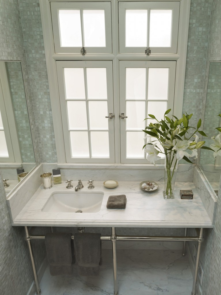 Glass Tile Bathroom 767x1024 New Remodel: Marrying Traditional & Modern Style in Small Home