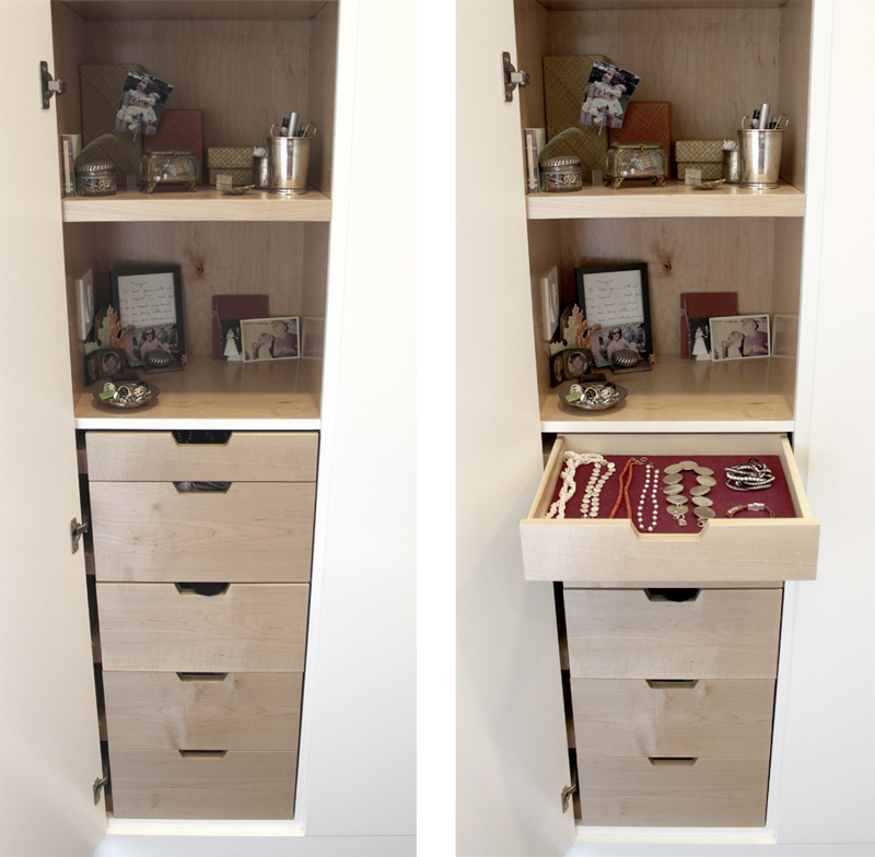 Built In Jewelry Drawer Details for Her: Custom Cabinetry for Shoes, Jewelry & More