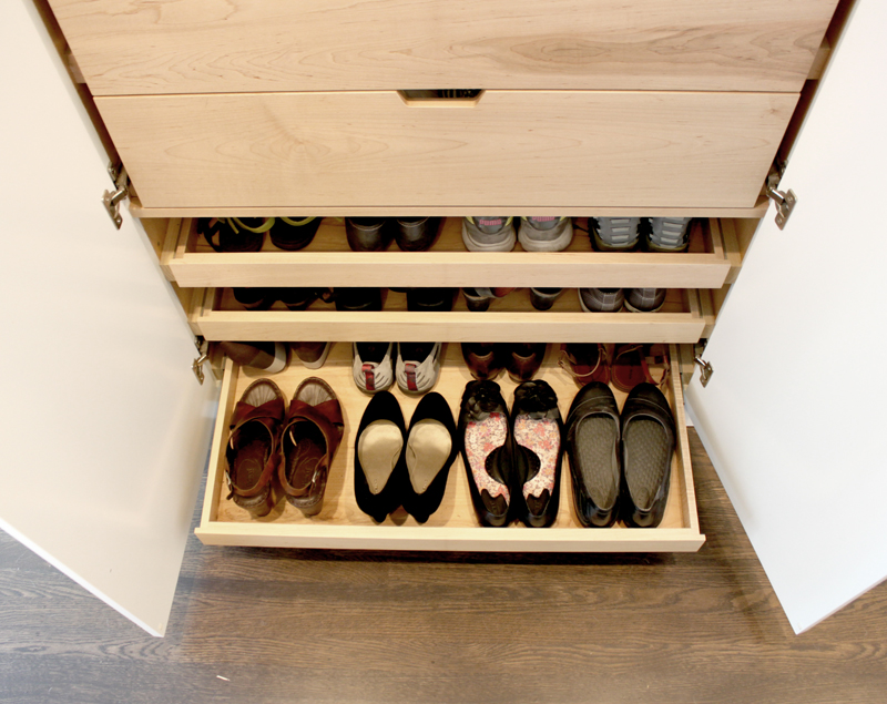 shoe rack open Details for Her: Custom Cabinetry for Shoes, Jewelry & More