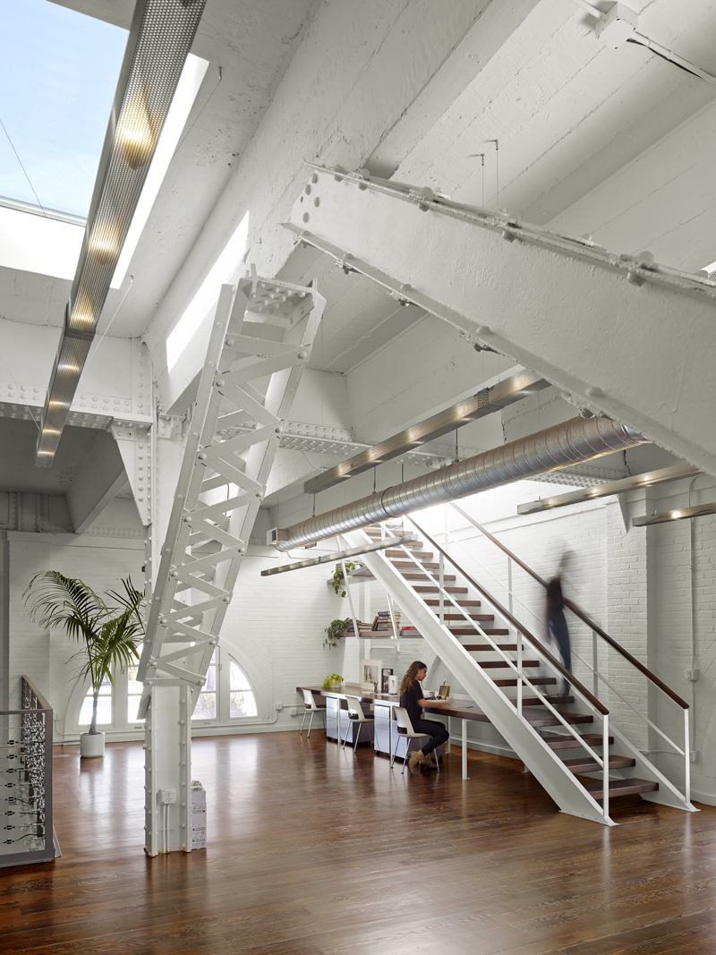 5 Interior staircase to roof Historic SOMA Loft for Live, Work, Art Making and Entertaining