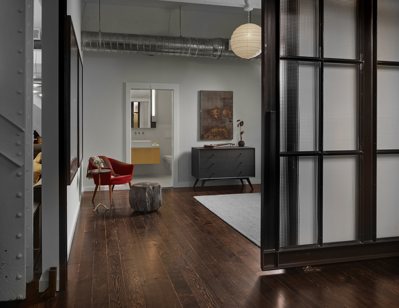 Sliding steel doors residential Historic SOMA Loft for Live, Work, Art Making and Entertaining