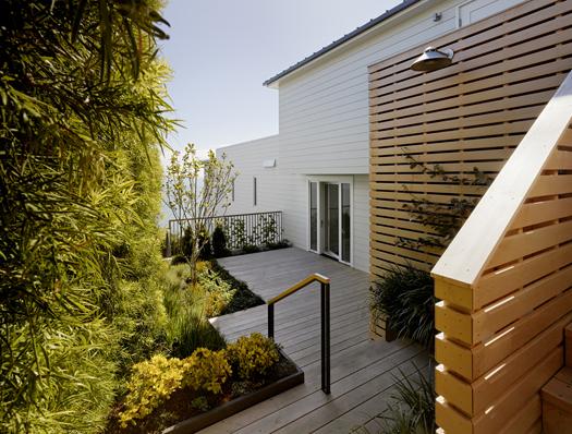 Alaskan Yellow Cedar Deck and Garden Wall Sausalito Hillside Deck Featured in Architects Newspaper