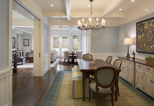 Blue Dining Room Decorations Historic Renovation: Sophistication & Style for Family of Five