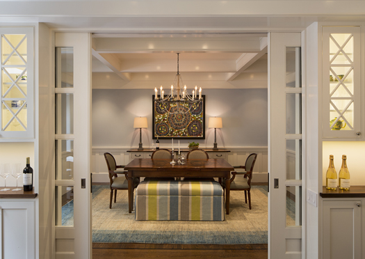 Blue Traditional Dining Room Remodel Historic Renovation: Sophistication & Style for Family of Five
