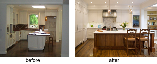 Kitchen before after Historic Renovation: Sophistication & Style for Family of Five