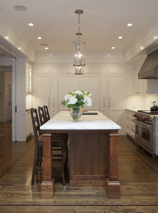 Traditional White Kitchen Remodel Historic Renovation: Sophistication & Style for Family of Five