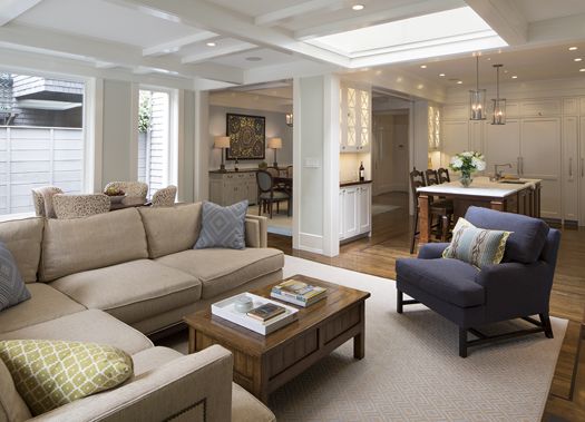 Transitional Style Living Room Remodel Historic Renovation: Sophistication & Style for Family of Five