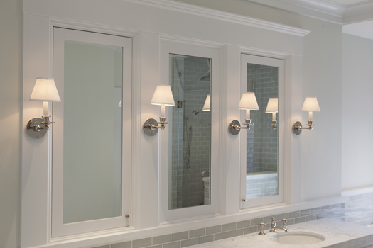 White Blue Bathroom Renovation Historic Renovation: Sophistication & Style for Family of Five