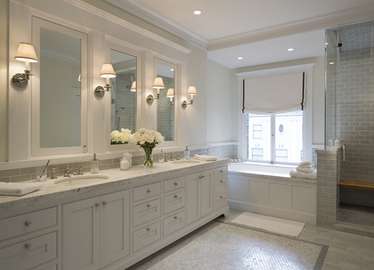 White Marble Bathroom Remodel Historic Renovation: Sophistication & Style for Family of Five