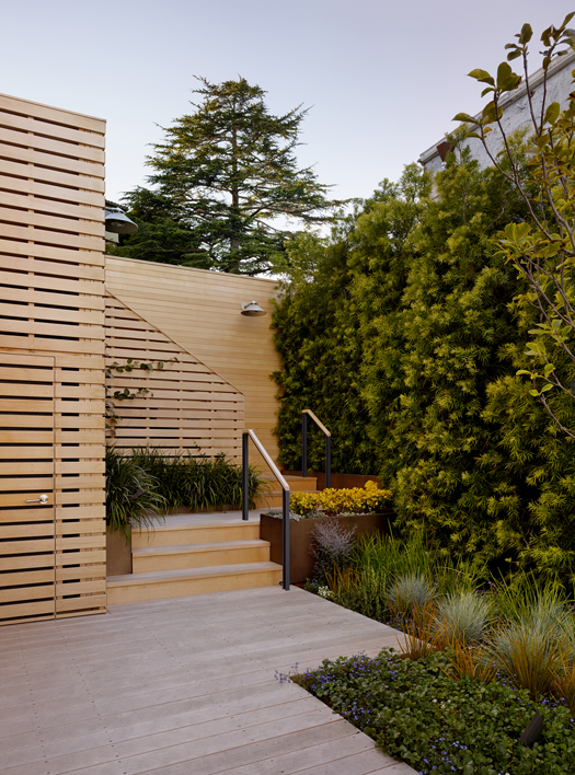 Yellow Cedar Deck and Garden Wall Sausalito Hillside Deck Featured in Architects Newspaper