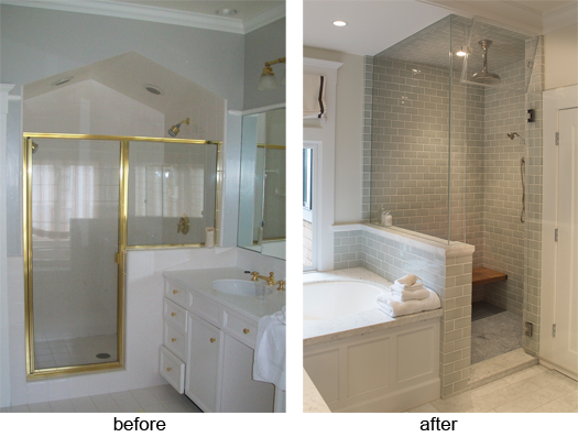 bathroom before after 525px Historic Renovation: Sophistication & Style for Family of Five